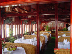 Dining room in Huong Hai junk, Halong Bay, Vietnam